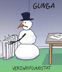 Schneemann dreht am Thermostat der Heizung und begeht Selbstmord
