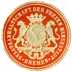 uraltes Dienstsiegel  Staatsanwaltschaft Bremen  1890