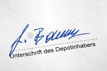 Unterschrift des Inhabers zur Errichtung eines Wertpapierdepots