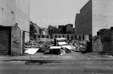 Berlin  Deutschland  Sperrmuell auf einem unbebauten Grundstueck