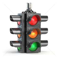 Traffic lights isolated on white background