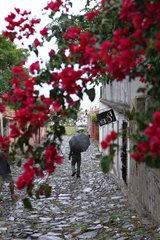 Colonia del Sacramento  Uruguay  Mann mit Regenschirm auf der Strasse