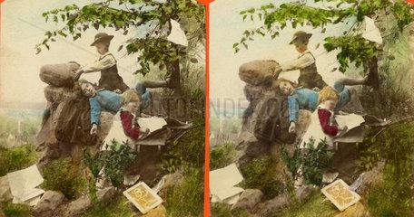 Stereofotografie  Kinder spielen  1865