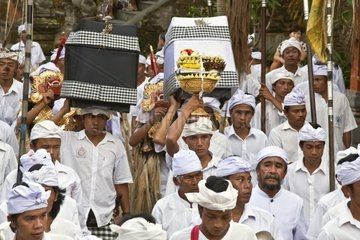 A procession of musicians are part of the ceremony at PURA TIRTA EMPUL TEMPLE COMPLEX during the GALUNGAN FESTIVAL