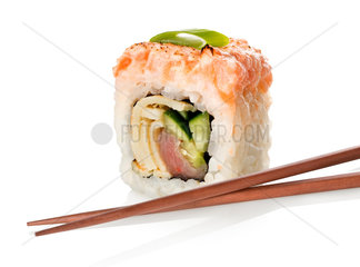 Sushi with fish and chopsticks