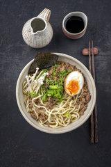 Ramen Mince Soup in Bowl