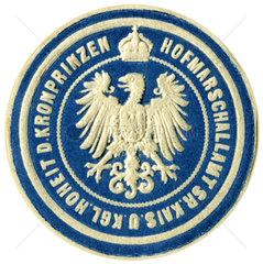 Papiersiegel Hofmarschallamt  1890
