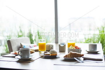 Breakfast on cafe table