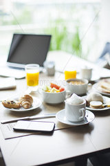 Breakfast on table in cafe