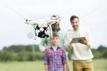 Family playing with drone outdoors