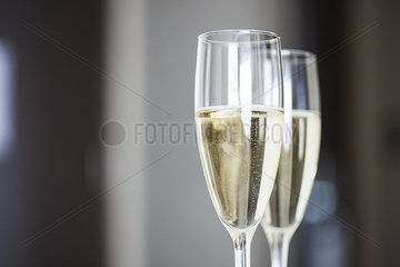 Close-up of champagne in champagne flutes
