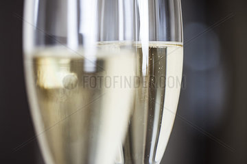 Close-up of champagne flutes