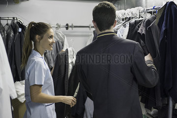 Woman helping customer