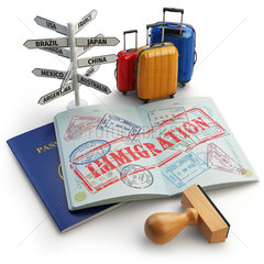 Immigration concept. Passport with stamps and visas  luggage and signboard with names of countries.