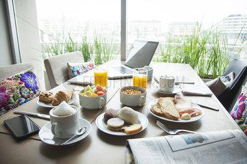 Breakfast on table in luxury hotel