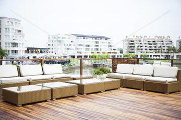 Deck overlooking marina at luxury hotel