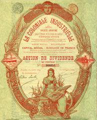 belgische Kolonialaktie  1899