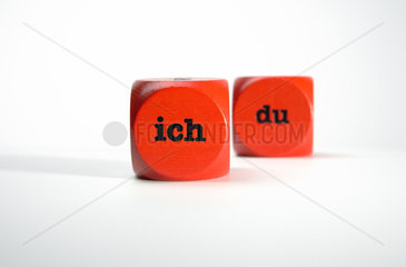 Berlin  Deutschland  Wuerfel mit den Worten ich und du