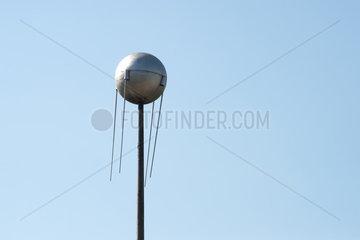 Der Sputnik des Cafe Moskau in der Berliner Karl-Marx-Allee