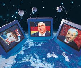 Hamburg  Deutschland  Montage einer Webkonferenz zwischen Helmut Kohl  Bill Clinton und Boris Jelzin