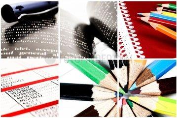 Komunikation Collage aus Webcam  Kopfhoerer  Bleistift und Kalender
