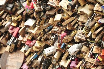 Paris  Frankreich  Liebesschloesser auf der Pont des Arts