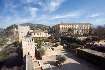 Granada  Spanien  Zitadelle und der Palast Koenig Karl V. auf der Alhambra