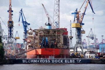 Hamburg  Deutschland  der daenische Frachter Maersk Curlew liegt im Trockendock Elbe 17