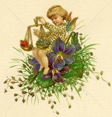 Liebesengelchen  Oblate und Aquarell  1900