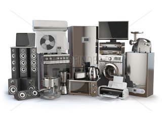 Home appliances. Gas cooker  tv cinema  refrigerator air conditioner microwave  laptop washing machine  blender toaster coffee machine  meat ginder and kettle.