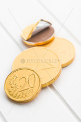 The euro currency . Chocolate coins.