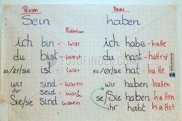 Bremen  Deutschland  Konjugation von den Verben sein und haben
