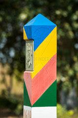 Tudora  Republik Moldau  Grenzstein mit Hoheitszeichen der Republik Moldau