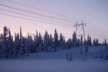 Aekaeskero  Finnland  vereiste Hochspannungsleitungen und Strommast bei Daemmerung