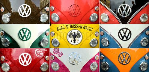 Hannover  Deutschland  Kombo verschiedener VW-Bulli-Gesichter