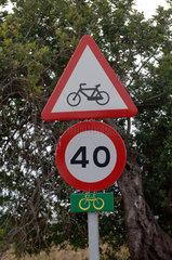 Mancor  Spanien  Verkehrsschilder an der Strasse