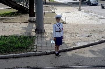 Pjoengjang  Nordkorea  eine Verkehrspolizistin in Pjoengjang