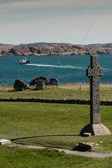 Baile Mor  Grossbritannien  das St Martins Cross auf der Klosteranlage von Iona Abbey