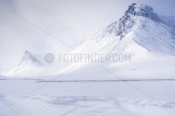 Skifahrer im Schneetreiben  Stuor Reaiddavaggi  Lappland
