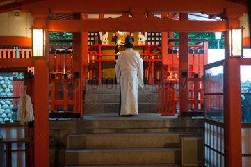 Kyoto  Japan  Ein Shinto-Priester am Fushimi Inari-Taisha