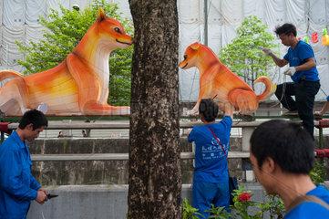 Singapur  Republik Singapur  Neujahrsdekoration in Chinatown