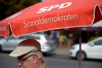 Berlin  Deutschland  Wahlkampfstand der SPD