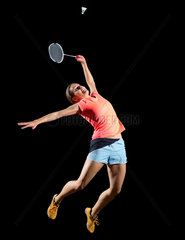 Young woman badminton player (with shuttlecock ver)