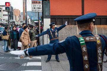 Kyoto  Japan  Verkehrsaufseher in Kyoto