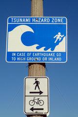 Santa Monica  USA  Hinweisschild: Verhalten bei Tsunami