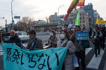 Kyoto  Japan  Demonstration gegen Atomwaffen in Kyoto