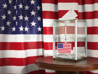 Ballot box with flag of USA and voting papers. Presidential or parliamentary election in USA.