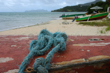 Hillsborough  Grenada  Boote am Strand auf der Insel Carriacou