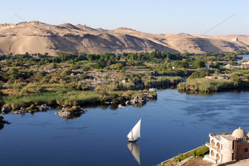 Assuan  Aegypten  Landschaft am Nil