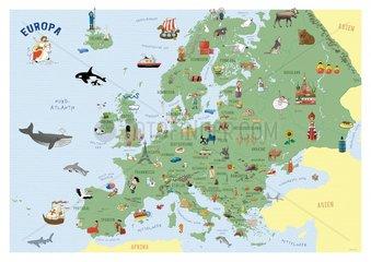 Europakarte fuer Kinder A3 Format